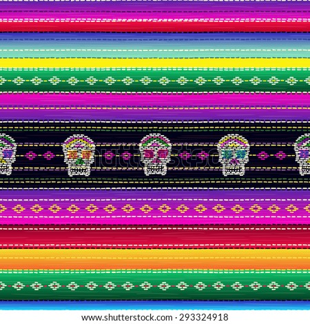 Seamless ethnic mexican fabric pattern with colorful stripes and Catrina`s skull. Repeat straight blue, black, red, green, yellow, violet stripes texture background, vector. - stock vector