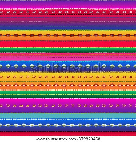 Seamless ethnic mexican fabric pattern with colorful stripes. Repeat straight blue, red, green, yellow, violet stripes texture background, vector. - stock vector