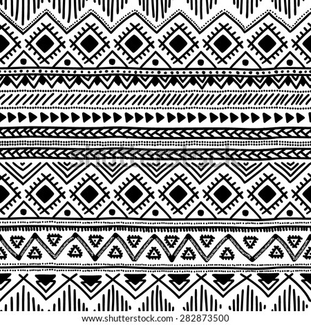 Seamless ethnic pattern. Black and white vector illustration. - stock vector
