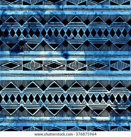 Seamless ethnic pattern. Hand drawn ornament. Blue and black vector illustration. Texture. - stock vector
