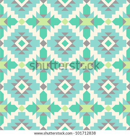 Seamless ethnic pattern in mint tints - stock vector