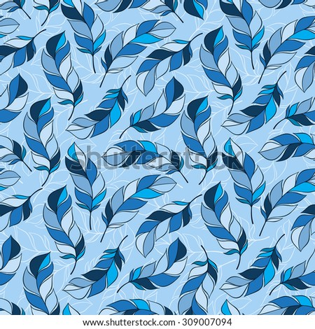Seamless ethnic pattern with feathers. Abstract pattern of feathers, can be used to print on fabric, paper, wallpaper and so on.