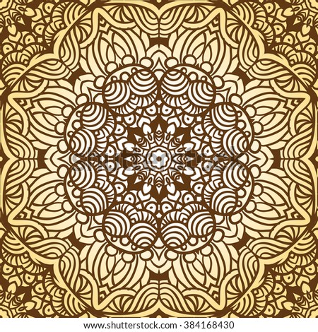 Seamless ethnic pattern with mandala. Vintage decorative elements. Hand drawn background. Islam, Arabic, Indian, ottoman motifs.