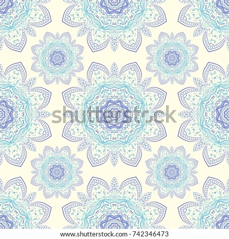Seamless Ethnic Pattern With Mangalas Vector Indian For Fabric Web Sites