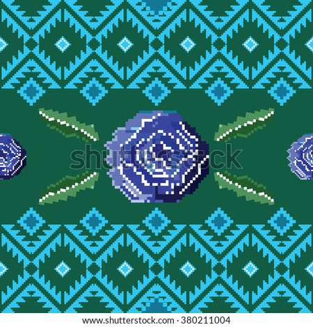 Seamless ethnic pattern with pixel roses. Ethnic elements with pixel rose flowers pattern.