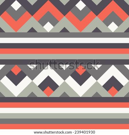 Seamless ethnic zigzag pattern background - stock vector