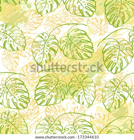 Seamless exotic background, contour monstera plants leaves and abstract pattern. Vector - stock vector