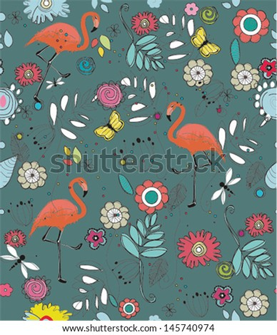 Seamless exotic brazil flamingo bird background pattern in vector - stock vector
