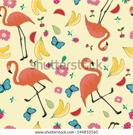 Seamless exotic brazil flamingo retro bird and  fresh fruit, summer background pattern in vector - stock vector