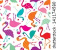 Seamless exotic brazil flamingo retro bird background pattern in vector - stock photo