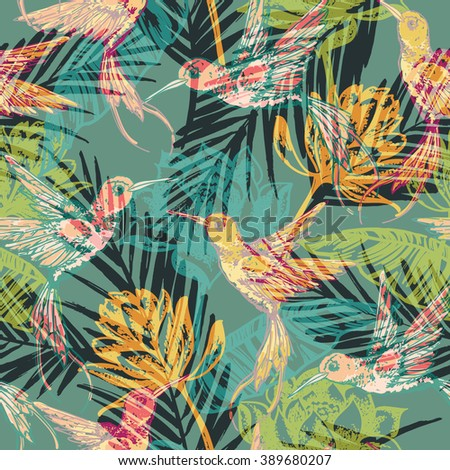 Seamless exotic pattern with abstract palm leaves and colibri. Vector hand draw illustration.