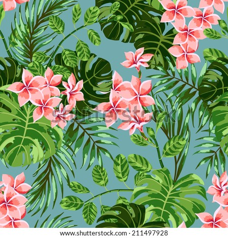 Seamless exotic  pattern with  tropical leaves and flowers on a blue background. Vector illustration.