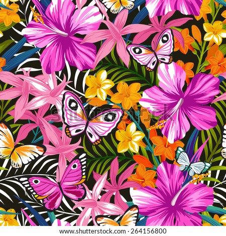 Seamless exotic pattern with tropical leaves, flowers and butterflies. Blooming jungle. Vector illustration. - stock vector