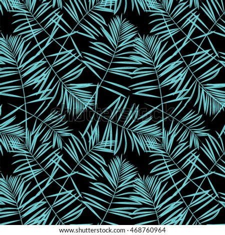Seamless exotic pattern with tropical leaves . Vector illustration.