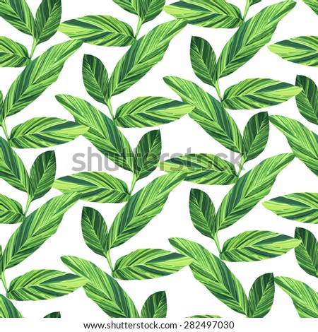 seamless exotic pattern with tropical leaves. vector pattern.