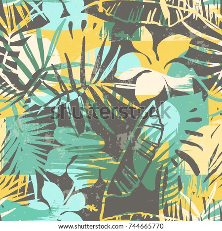 Seamless exotic pattern with tropical plants and artistic background. Modern abstract design for paper, cover, fabric, interior decor and other users.