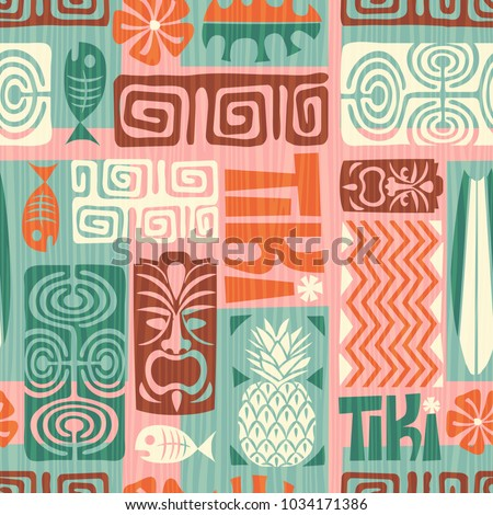 Seamless Exotic Tiki Pattern Use For Wallpaper Fabric Patterns Backgrounds Vector Illustration