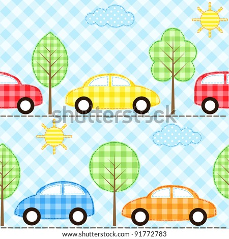 Seamless fabric background with cars - stock vector