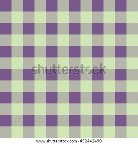 Seamless fabric pattern with stripes and diagonal hatching. Retro textile collection. Purple and light green color. Tartan. Vector background. - stock vector