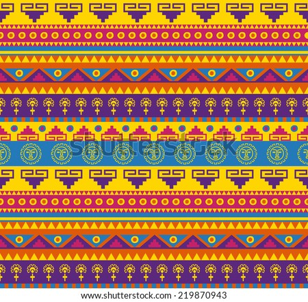 seamless fancy bright colored pattern in mexican style
