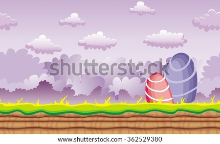 Seamless fantasy landscape, vector game background with separated layers for parallax effect