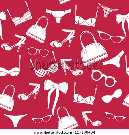seamless fashion accessories pattern - stock vector