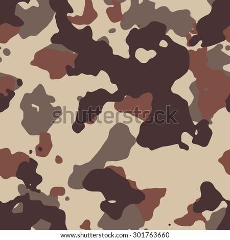 Seamless Fashion Brown Desert Camouflage Pattern Vector