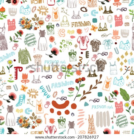 Seamless Fashion Pattern / Vector illustration of mixed media illustrations. Good for web background, textile, seamless patterns etc.