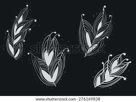 Seamless Feather Pattern from Wonderland on White on Chalkboard. Vector Illustration. - stock vector