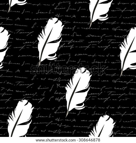 Seamless feathers. Handwritten seamless background. Vector - stock vector