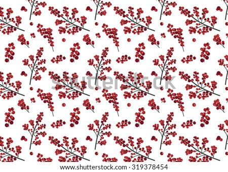 Seamless Festive Red Holly Berries Background/Wallpaper - Vector - stock vector