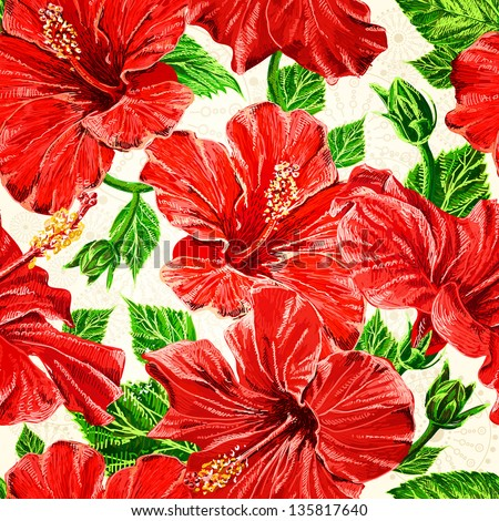 Seamless fhibiscus flowers pattern, hand-drawing. Vector, EPS 10 - stock vector