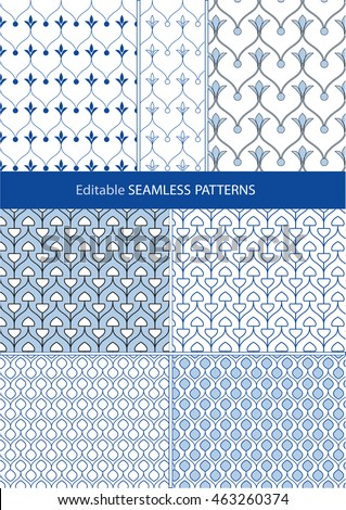 Seamless fill patterns of fine curvy arched lines and organic shapes. 4 basic designs with many variations possible.