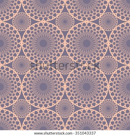 Seamless fine pink lace patterns in vintage style. Circle shapes on purple background.