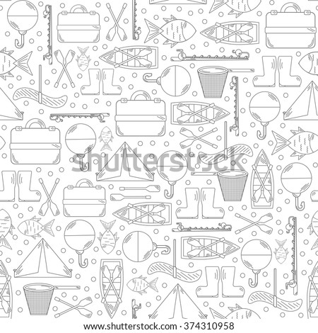 Seamless fishing background - stock vector