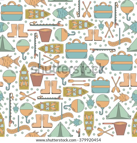 Seamless fishing background with simple line flat fishing objects. Outdoor activity hobby concept - stock vector
