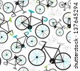 Seamless fixed gear bicycle illustration background pattern in vector - stock vector