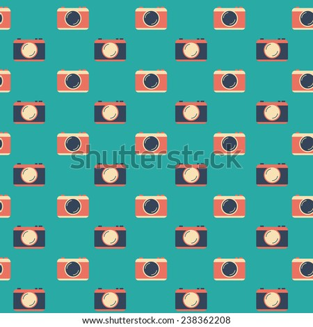 Seamless flat background with cameras - stock vector