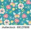 seamless flora with butterfly on blue background - stock vector