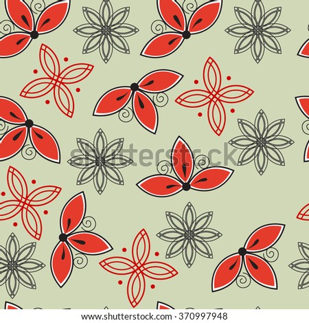 Seamless floral abstract pattern - stock vector