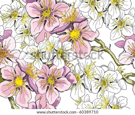 Seamless floral background. - stock vector