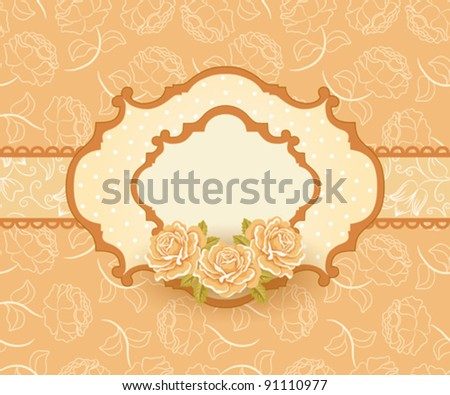 Seamless floral background, greeting card template