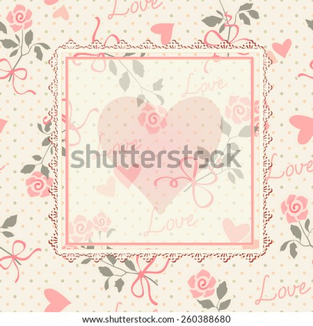 Seamless floral background. Lace frame with space for your text in a shape of heart. - stock vector