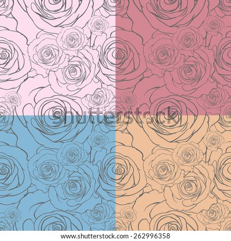 Seamless floral background. Roses. - stock vector