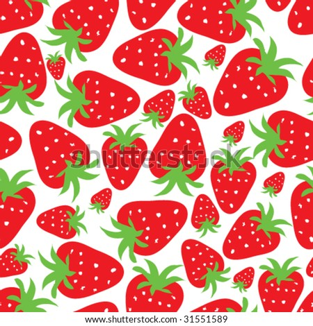 seamless floral background - strawberries - stock vector