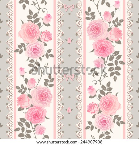 Seamless floral background. Striped polka dot pattern with pink roses. Shabby chic style. - stock vector