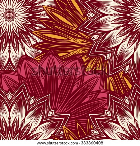 Seamless floral background. Tracery handmade nature ethnic fabric backdrop pattern with flowers. Textile design texture. Decorative colorful art. Vector. - stock vector