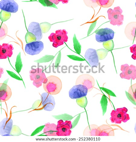 Seamless floral background, vector. - stock vector