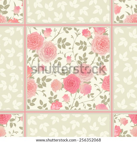 Seamless floral background. Vector pattern with roses and leaves. Shabby chic style checkered ornament. - stock vector