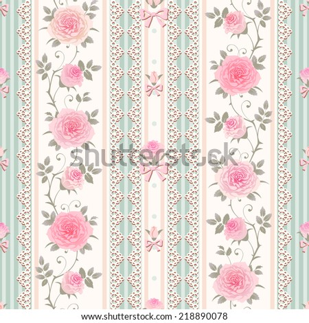 Seamless floral background. Vector striped pattern with lace, bows and climbing roses. Shabby chic style. - stock vector